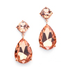 Chunky Champagne Crystal Wedding or Prom Earrings in Rose Gold<br>4114E-RG