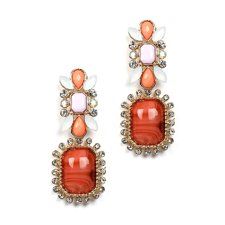 Chic Crystal, Coral & Opaque Pastel Earring<br>4121E-CORMU