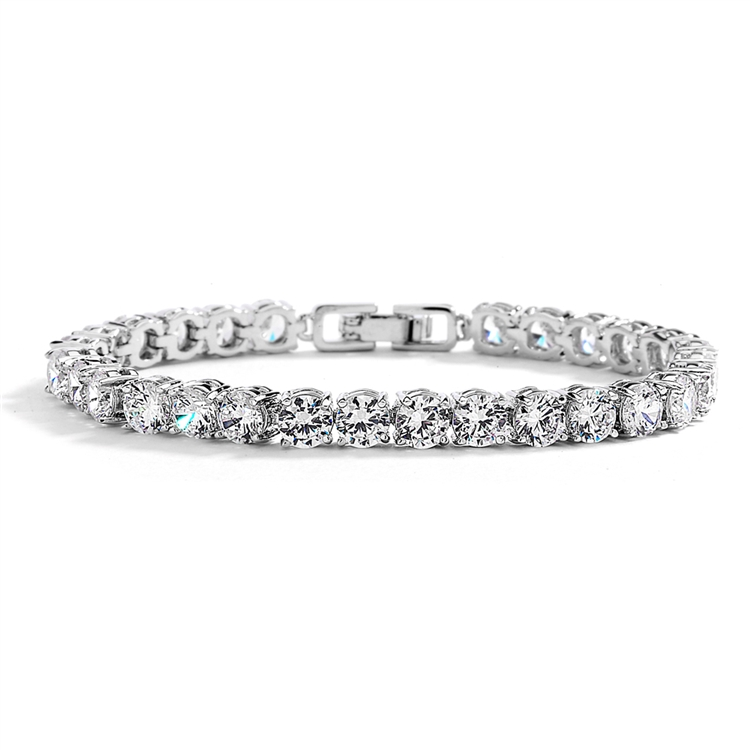 Glamorous Silver Rhodium Bridal or Prom Tennis Bracelet in Petite Size<br>4127B-S-6