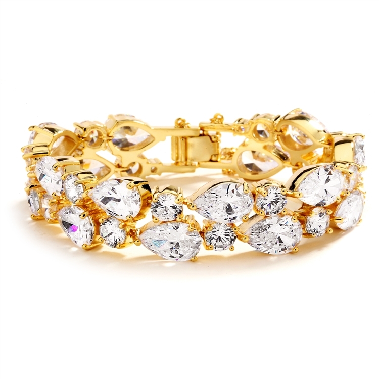 Red Carpet Bold CZ Pears Bridal Statement Bracelet in 14K Gold Plating<br>4128B-G-6