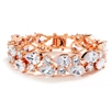 Rose Gold Petite Length CZ Pears Bridal Statement Bracelet<br>4128B-RG-6