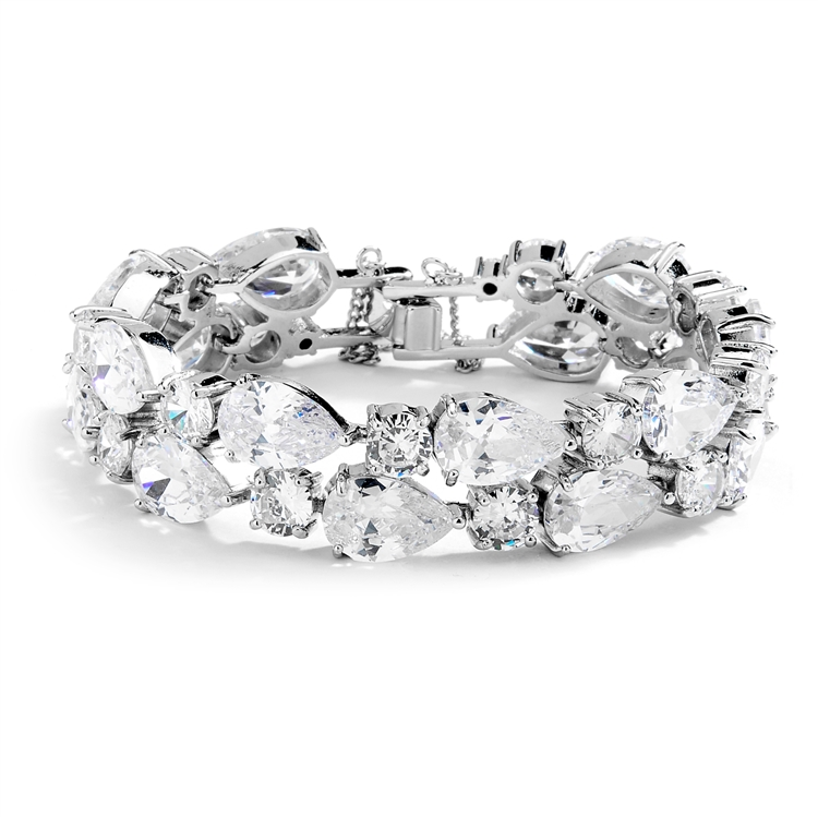 Red Carpet Bold CZ Pears Bridal Statement Bracelet in Silver Rhodium<br>4128B-S-6