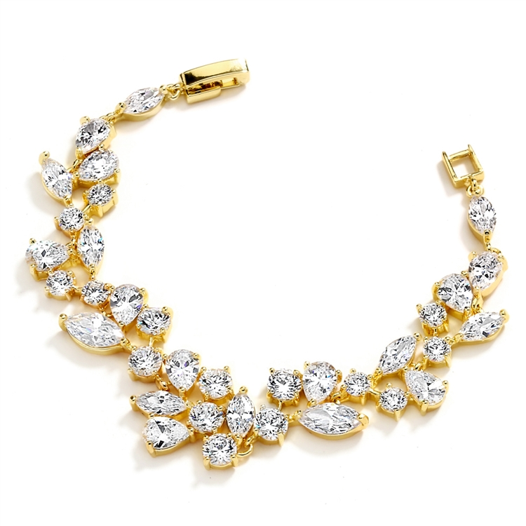 Top Selling Mosaic Shaped CZ Wedding Bracelet in 14K Gold Plating - Petite Size<br>4129B-G-6