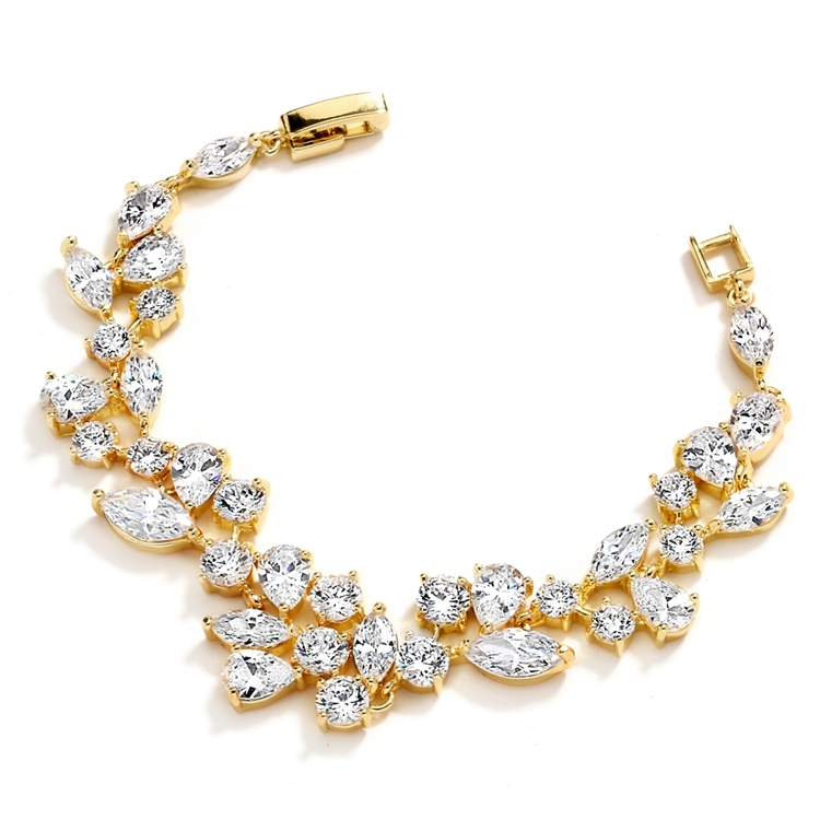 Top Selling Mosaic Shaped CZ Wedding Bracelet in 14K Gold Plating<br>4129B-G-7