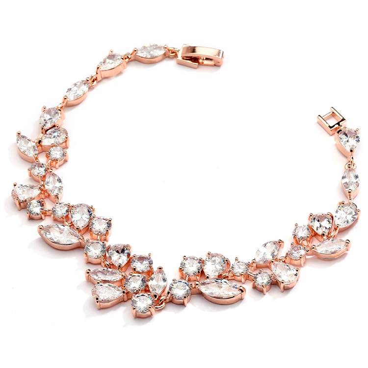 Top Selling Rose Gold Mosaic Shaped CZ Wedding Bracelet in 14K Gold Plating <br>4129B-RG-7