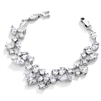 Top Selling Mosaic Shaped CZ Wedding Bracelet in Silver Rhodium - Petite Size<br>4129B-S-6