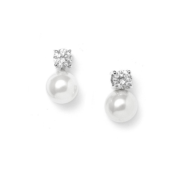 Pearl & CZ Solitaire Bridal Earrings<br>412E