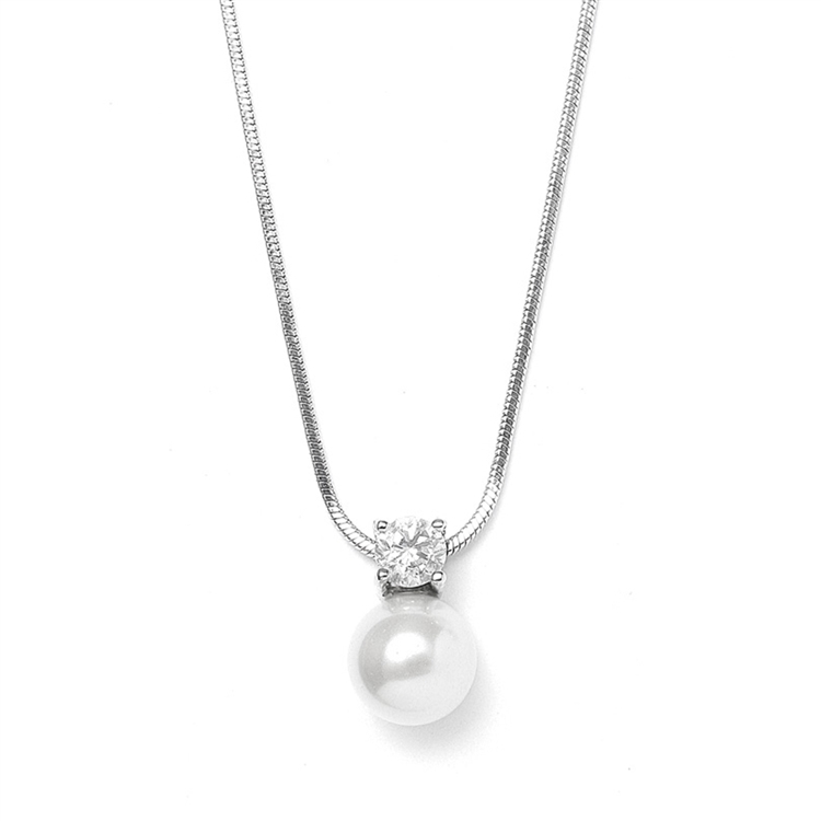 Pearl & CZ Solitaire Bridal Necklace<br>412N