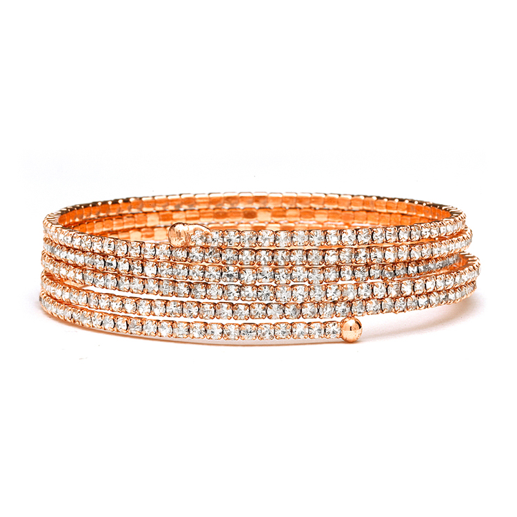 Rose Gold 5-Row Delicate Rhinestone Coil Bracelet<br>4132B-RG