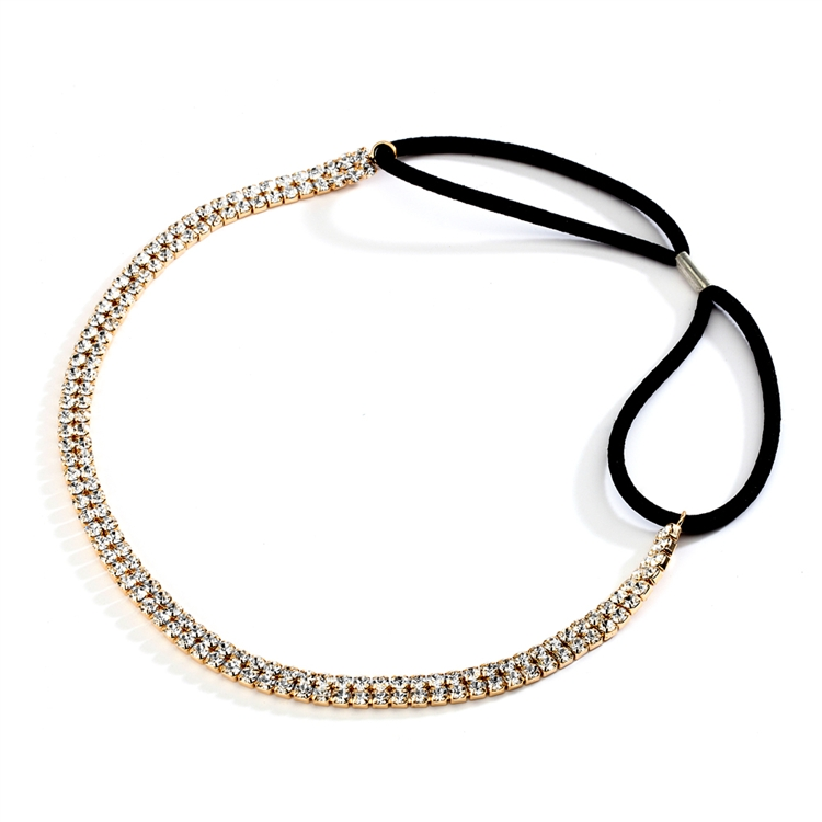 2-Row Gold Rhinestone Adjustable Stretch Headband<br>4136HB-G