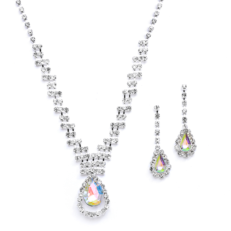 Prom or Bridesmaids Rhinestone Necklace Set with AB Caged Pear<br>4140S-AB