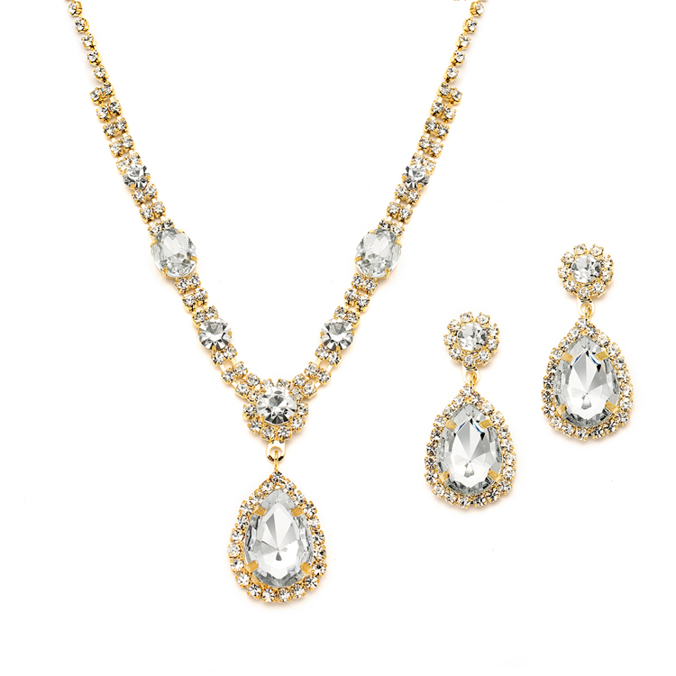 Gold and Clear Rhinestone Necklace Earrings Set for Prom or