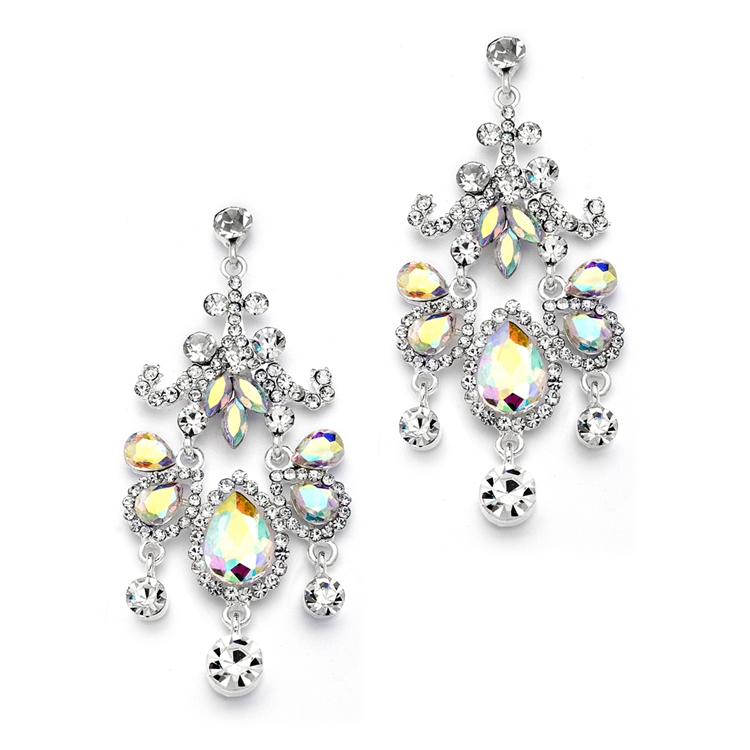 Crystal Chandelier Statement Earrings with AB Gems<br>4149E-AB