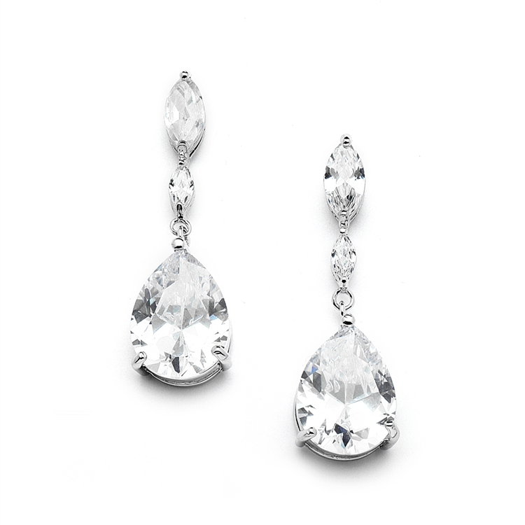 Top Selling Cubic Zirconia Wedding Earrings with Dainty Marquise & Pear Drop<br>4154E