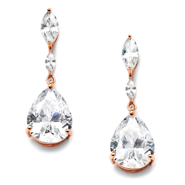 Top Selling Cubic Zirconia Wedding Earrings with Dainty Marquise & Pear Drop<br>4154E-RG