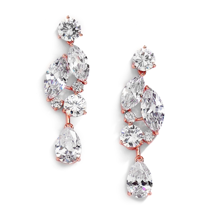 Rose Gold Cubic Zirconia Mosaic Wedding Earrings with Teardrop<br> 4156E-RG