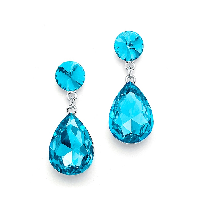 Color Splash Pear-shaped Drop Earrings - Aqua<br>4161E-AQ