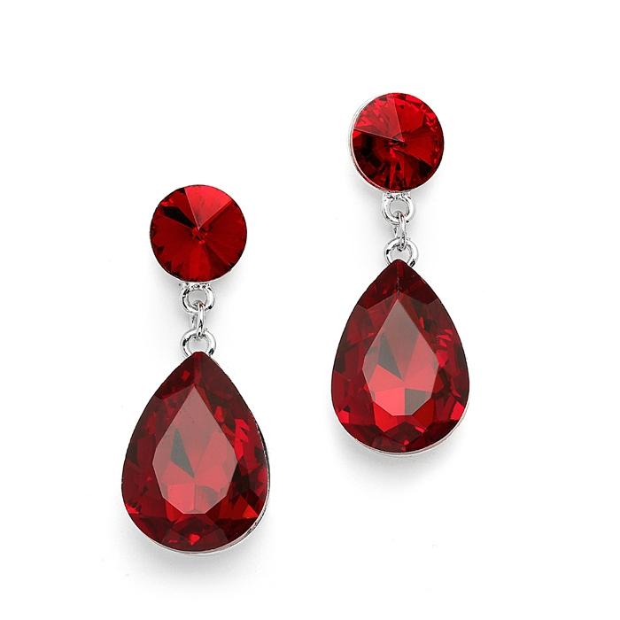 Color Splash Pear-shaped Drop Earrings - Ruby Red<br>4161E-RU