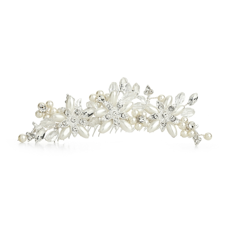 Elegant Ivory Pearl & Crystal Flower Wedding Tiara Comb<br>4164TC