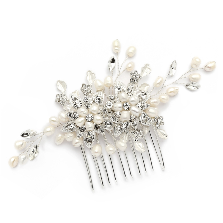 Freshwater Pearl Wedding Hair Comb with Pave Crystal Leaves<br>4168HC