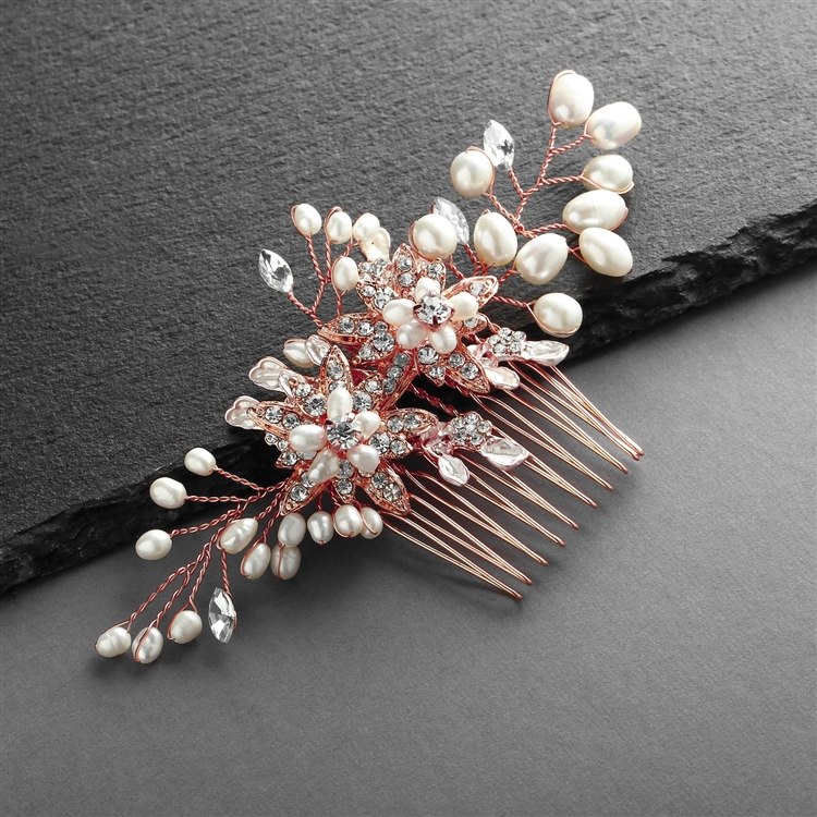 Rose Gold Freshwater Pearl Wedding Hair Comb with Crystal Leaves<br>4168HC-RG