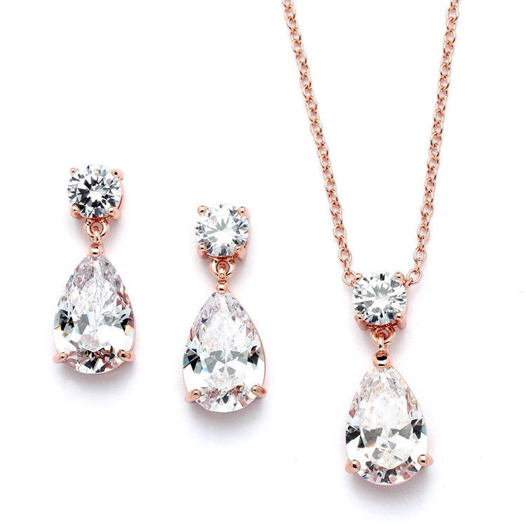 Rose Gold Cubic Zirconia Teardrop Bridal or Bridesmaids Necklace Set<br>4172S-RG