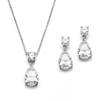 Cubic Zirconia Teardrop Bridal or Bridesmaids Necklace Set<br>4172S-S