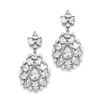 Cubic Zirconia Designer Bridal Earrings with Pearl Sunburst<br>4175E