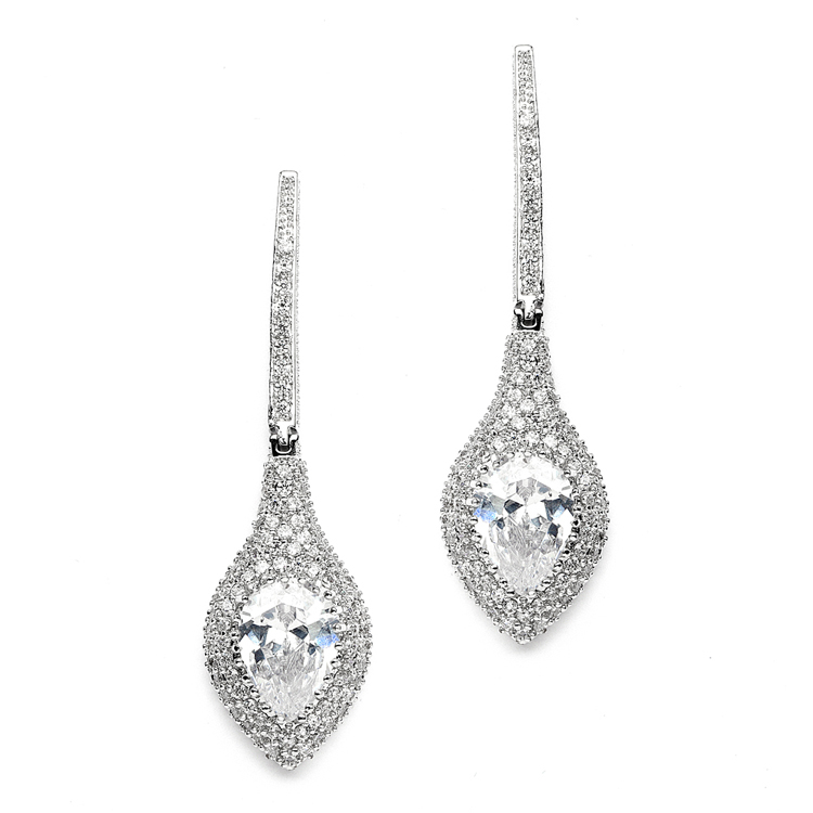 Art Deco Statement Earrings with Bold Pear & Pave CZ<br>4176E