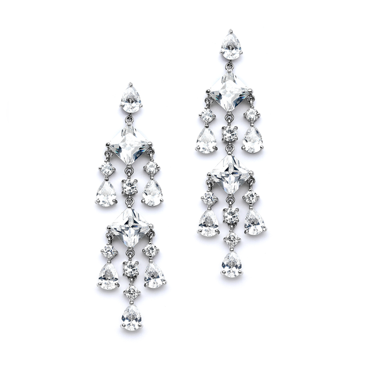 CZ Chandelier Statement Earrings<br>4177E