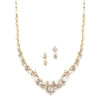 Elegant Gold Wedding Necklace Set with Crystals & Pearl Cluster<br>4183S-G