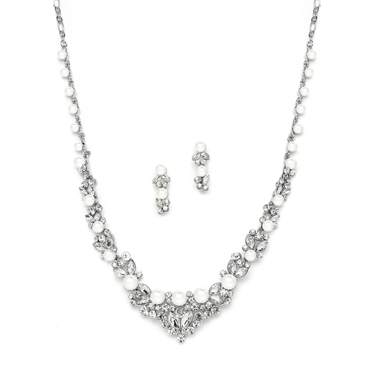 Elegant Silver Wedding Necklace Set with Crystals & Pearl Cluster<br>4183S-S