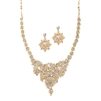 Top Selling Crystal & Gold Statement Necklace Set for Weddings<br>4184S-G