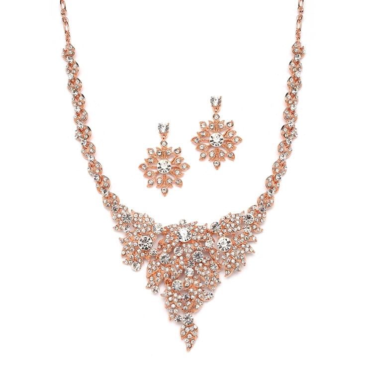 Top Selling Rose Gold & Crystal Statement Necklace Set<br>4184S-RG