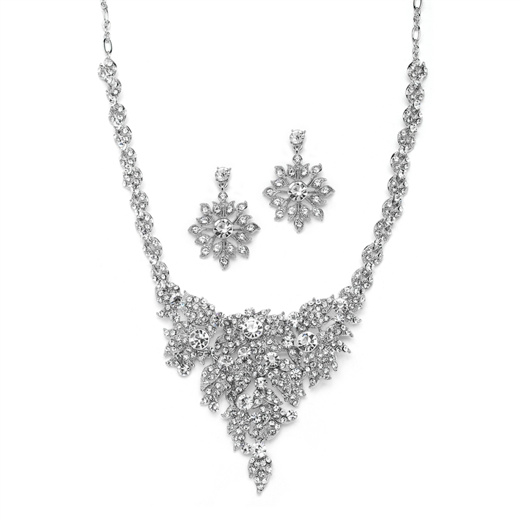 Top Selling Crystal Statement Necklace Set for Weddings<br>4184S-S