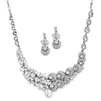 Unique Split Design Bold Crystal Bridal Statement Necklace Set<br>4185S