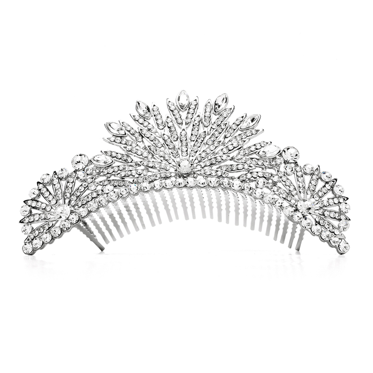 Spectacular Crystal Art Deco Wedding or Prom Tiara Comb<br>4188TC-S