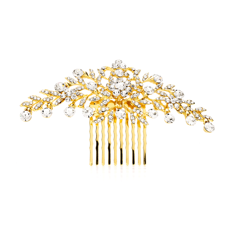 Popular Crystal Wedding or Prom Comb with Shimmering Gold Leaves<br>4190HC-G