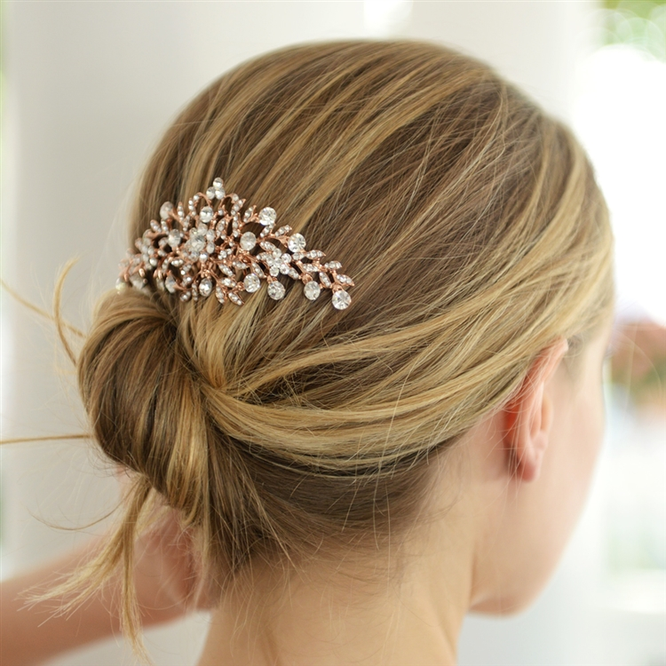 Popular Rose Gold Crystal Wedding or Prom Comb with Shimmering Leaves<br>4190HC-RG