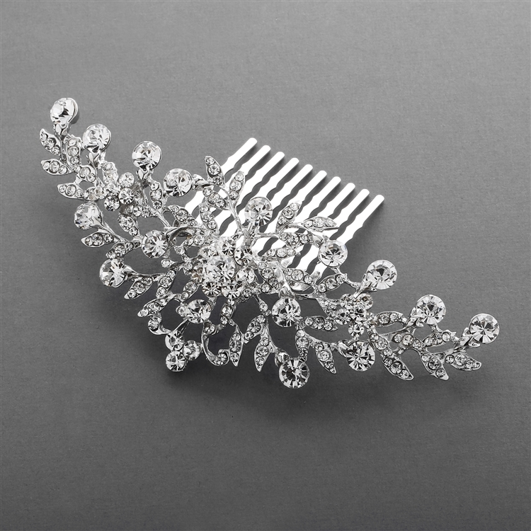 Popular Crystal Wedding or Prom Comb with Shimmering Leaves<br>4190HC-S