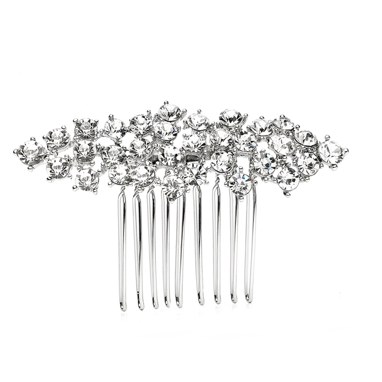 Best Selling Crystal Clusters Silver Wedding or Prom Comb<br>4191HC-CR-S