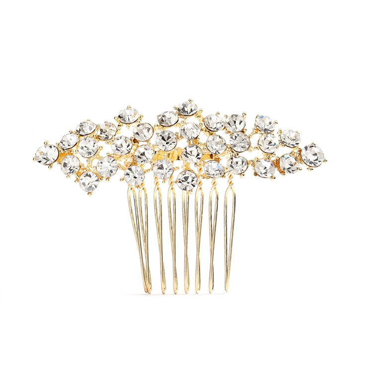 Best Selling Crystal Clusters Gold Wedding or Prom Comb<br>4191HC-G-CR