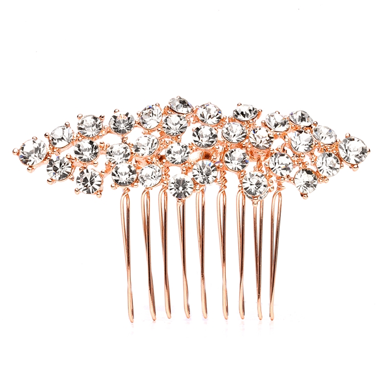 Best Selling Crystal Clusters Rose Gold Wedding or Prom Comb<br>4191HC-RG