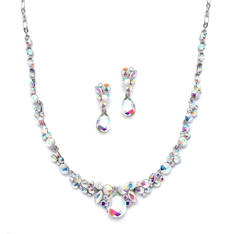 Regal Ab Crystal Bridal Or Prom Necklace Earrings Set Br 4192s