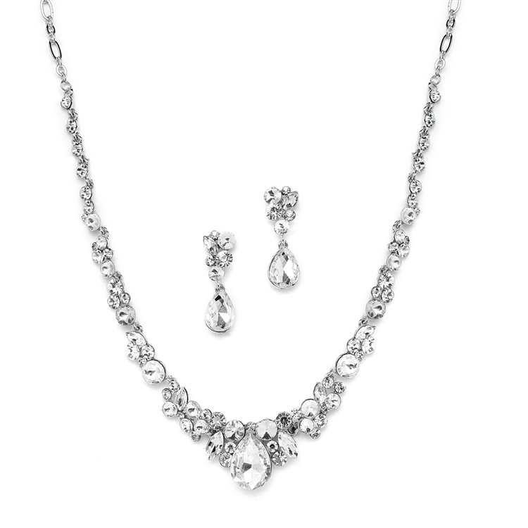 Regal Crystal Bridal or Prom Necklace Earrings Set Mariell