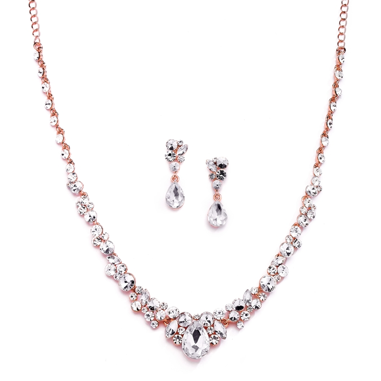 Regal Rose Gold Crystal Bridal or Prom Necklace & Earrings Set<br>4192S-RG