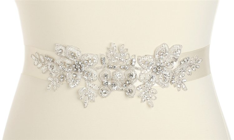 Breathtaking Handmade Bridal Sash with European Crystal Beaded Applique<br>4193SH-I