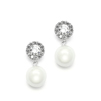 Framed CZ Bridal Earrings with 10mm Soft Cream Pearl Drop<br>4202E