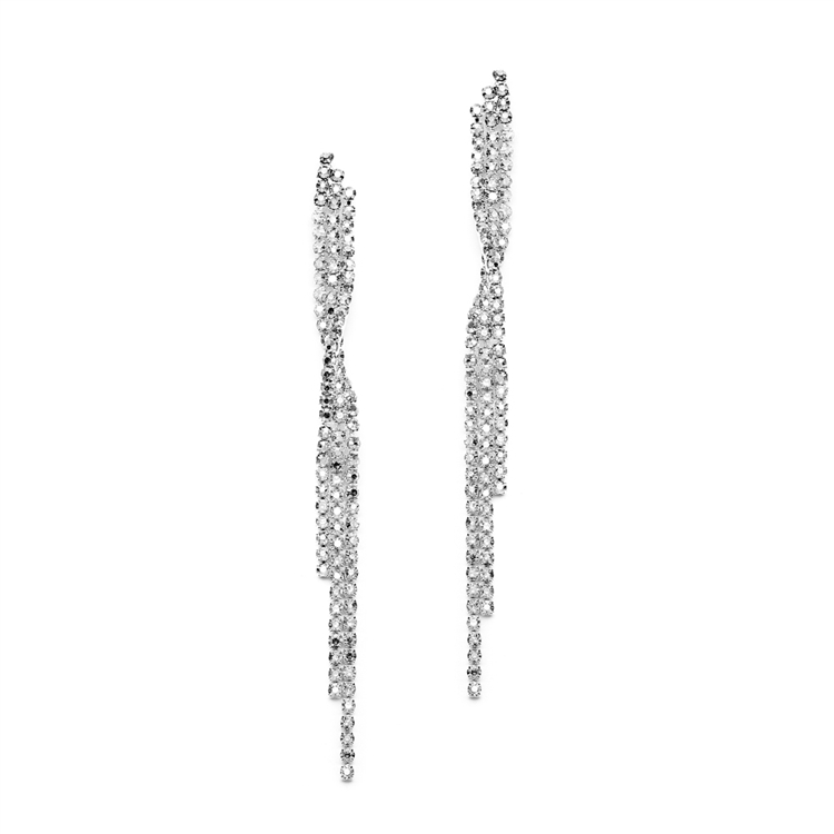 Popular Dangling Rhinestone Prom Earrings with Graceful Twist<br>4206E-CR-S