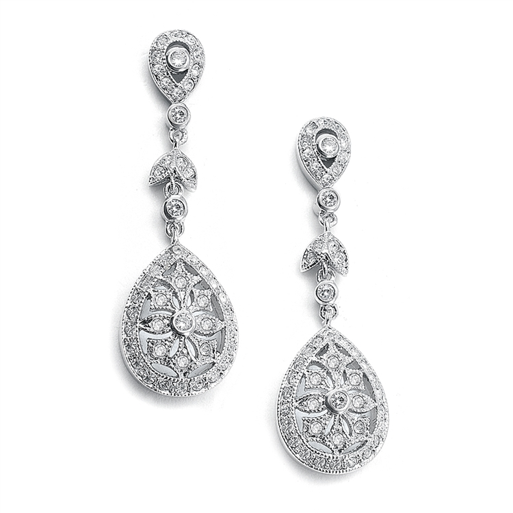 Vintage Etched Cubic Zirconia Dangle Bridal Earrings<br>420E